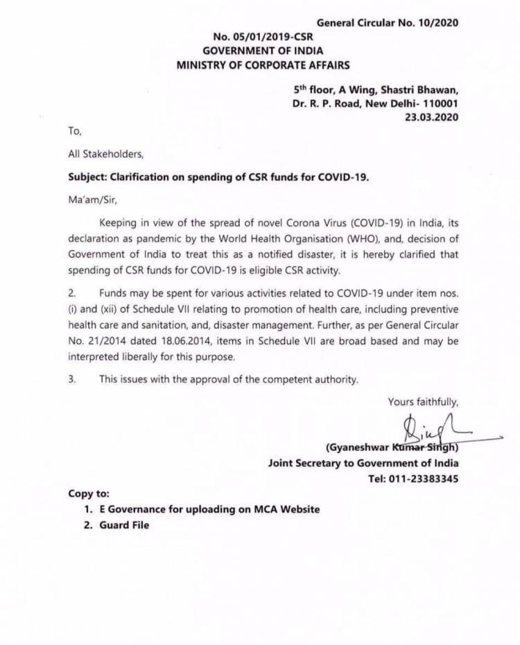 Spending of CSR funds for COVID-19