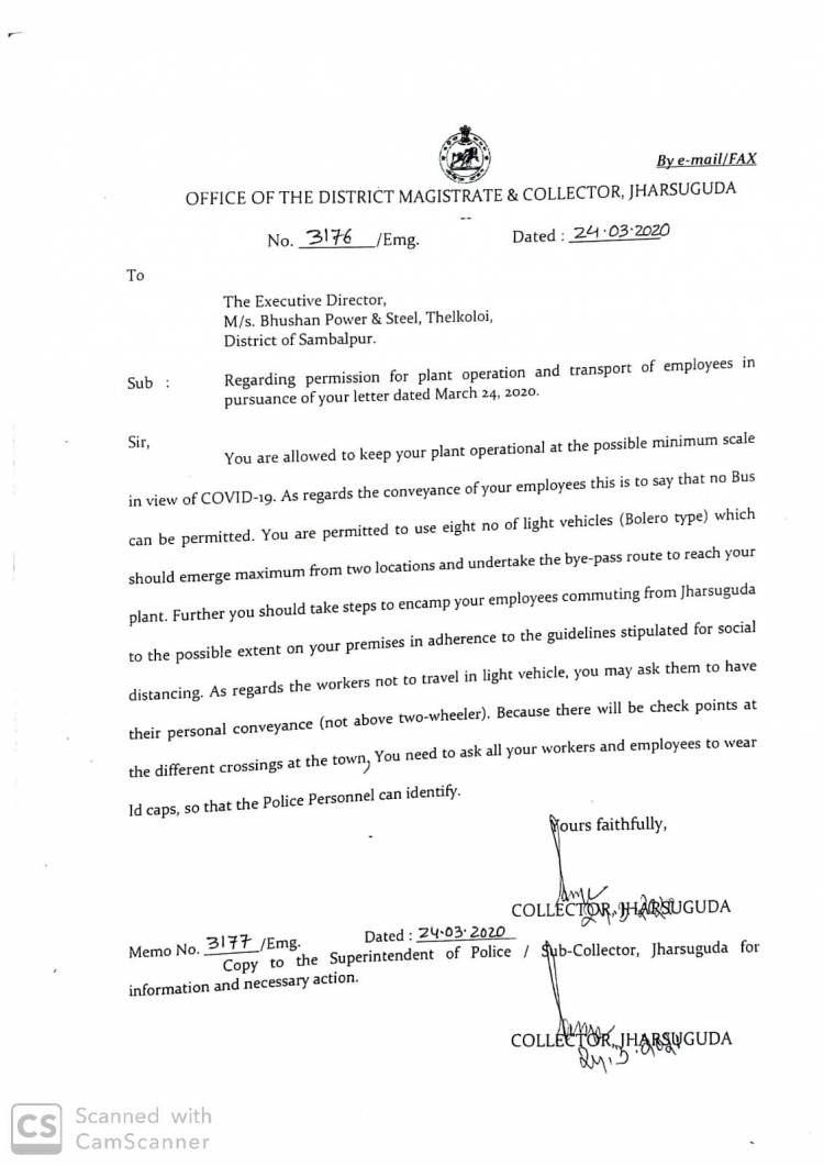 Bhushan Power & Steel Ltd not locked down for the next 21 days-permission letter from Office of the District Magistrate & Collector,Jharsuguda