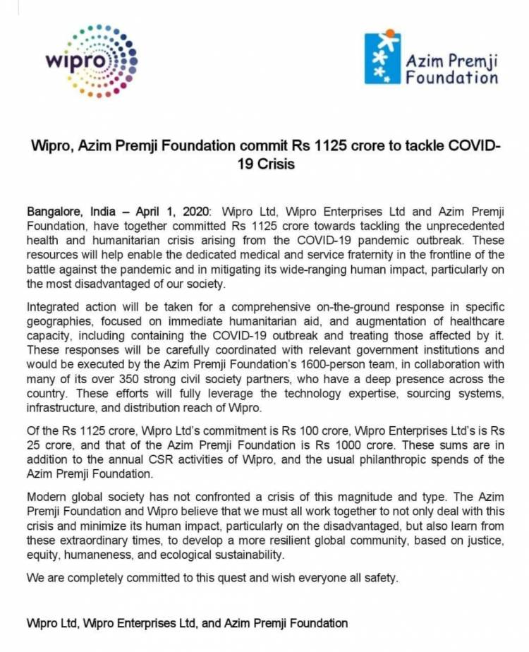Azim Premji Foundation commit Rs1125 to tackle  KOVID19 Crisis